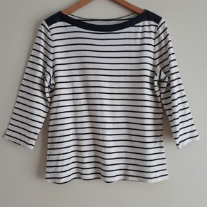 Chaps Boatneck Striped Top with Faux Leathe Collar